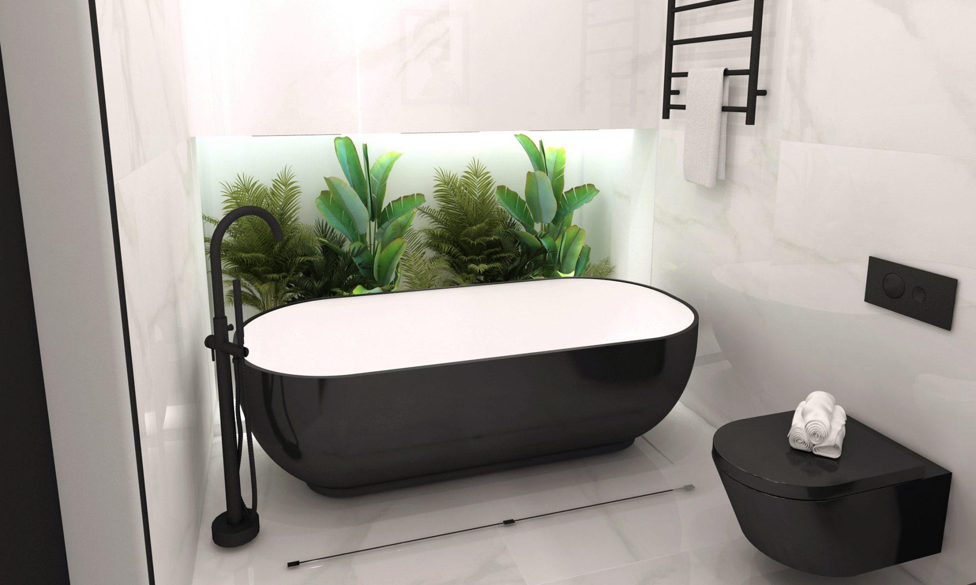 casa de banho a preto e branco smile bath